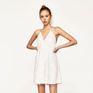 Zara White Embroidered Halter Mini Dress M